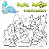 Brachiosaurus van de beeldverhaal voorhistorische dinosaurus, kleurend boek, grappige illustratie royalty-vrije illustratie