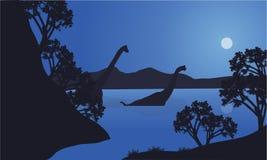 Brachiosaurus in water scenery silhouette Royalty Free Stock Image
