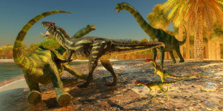 Brachiosaurusa dinosaura atak ilustracja wektor