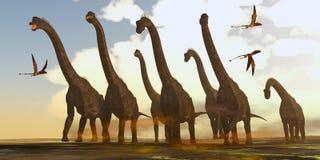 Brachiosaurusdinosaurier på Trek vektor illustrationer