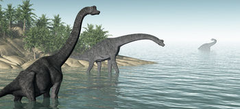Brachiosauruspanorama Royalty-vrije Stock Afbeeldingen