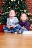 braci boże narodzenia zbliżać siostrzanego drzewa Zdjęcie Royalty Free