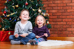 braci boże narodzenia zbliżać siostrzanego drzewa Fotografia Stock