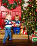 braci boże narodzenia zbliżać siostrzanego drzewa Zdjęcia Royalty Free