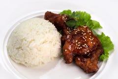 Braciola di maiale acida dolce con riso Fotografia Stock