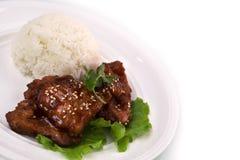 Braciola di maiale acida dolce con riso Immagine Stock