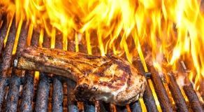Braciola di maiale sulla griglia con le fiamme Fotografia Stock Libera da Diritti