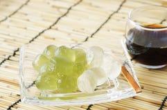 Bracken starch dumpling. On the glass plate Stock Photo