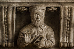 Bracket with Stonemason Bust. As Medieval Architectural Decoration Stock Photography