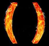 The brackets as burning punctuation mark Stock Image