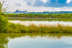 Brackish lagoon and industries. Brackish lagoon with industries in the background in Italy Royalty Free Stock Images