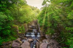 Bracklinn在Callander,小镇附近在斯特灵,苏格兰理事会地区下跌,风景自然风景  库存照片
