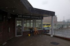Bracknell Bus Station Cafeteria in England During a Snow Storm Stock Photos