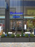 Carluccio`s Deli and Dining Italian Restaurant in Bracknell, England. Bracknell, England - March 20, 2018: The glass exterior and window display of Carluccio`s Stock Image