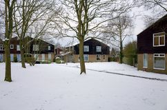 Houses and Trees Covered in Winter Snow in England Royalty Free Stock Images