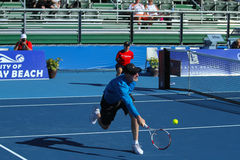 Brad Gilbert at the Delray Beach Open. DELRAY BEACH, FL, USA - FEBRUARY 14, 2015:  Brad Gilbert, ESPN analyst and former coach of Andre Agassi reaches for a Royalty Free Stock Photography