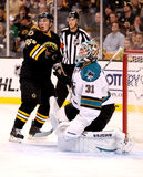 Brad Marchand and Antti Niemi (NHL Hockey) Royalty Free Stock Photo