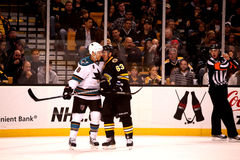 Brad Marchand v. Joe Pavelski (NHL Hockey) Royalty Free Stock Images