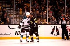 Brad Marchand v. Joe Pavelski (NHL Hockey) Royalty Free Stock Images