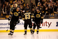Brad Marchand, Zdeno Cara and Patrice Bergeron Stock Photo