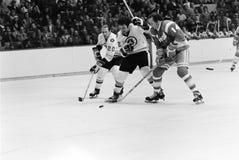 Brad Park et Dallas Smith, Boston Bruins image libre de droits