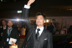 Brad Pitt. Famous actor Brad Pitt waves to fans at the Toronto International Film Festival Stock Image
