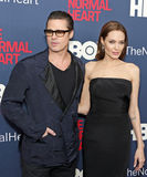 Brad Pitt and Angelina Jolie. Actor Brad Pitt and wife, actress Angelina Jolie, Television personality Jane Lynch arrives on the red carpet for the New York stock images