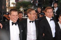 Brad Pitt, George Clooney, Matt Damon fotografía de archivo libre de regalías