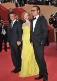 Brad Pitt Jessica Chastain, Sean Penn arkivbild