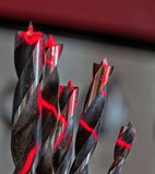 Brad-Point Drill Bits--Lit Up in Red Royalty Free Stock Image