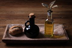 Brad, Vinegar, and Olive Oil Royalty Free Stock Images