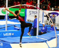 BRAD WALKER - World Champion. Compete in the pole vault competition with the result 5.62 on Samsung Pole Vault Stars meeting on February 11, 2012 in Donetsk royalty free stock images