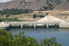 Bradbruy Dam. The Bradbury Dam at Lake Cachuma in Santa Barbara County Stock Photos