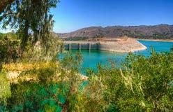 The Bradbury Dam at Lake Cachuma in Santa Barbara County. stock photography
