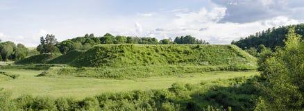 Bradeliškiai mound in Lithuania at summer. Bradeliškiai mound is located in the territory of the Vilnius district municipality, near Bradeliškės stock photography