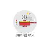 Bradend Pan Cooking Utensils Kitchen Equipment-Toestellenpictogram Stock Foto's