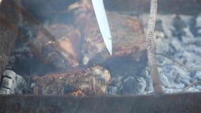 Bradend vlees op de steenkolen in de koperslager Close-up stock videobeelden