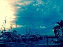 Bradenton海滩萨拉索塔海湾佛罗里达桥梁 免版税库存照片