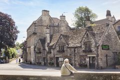 Bradford on Avon Somerset UK. 7 July 2017: Bradford on Avon, Somerset, England, UK - Old cottages and houses in the town Royalty Free Stock Image