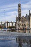 Bradford Centenary Square. And town hall, in West Yorkshire, England, with area of water fountains in the foreground Royalty Free Stock Images