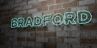 BRADFORD - Glowing Neon Sign on stonework wall - 3D rendered royalty free stock illustration Royalty Free Stock Photography
