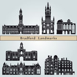 Bradford landmarks and monuments. On blue background in editable vector file Royalty Free Stock Photography