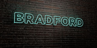 BRADFORD -Realistic Neon Sign on Brick Wall background - 3D rendered royalty free stock image. Can be used for online banner ads and direct mailers Royalty Free Stock Image