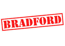 BRADFORD. Red rubber stamp on a white background Stock Photo