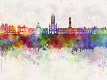 Bradford skyline in watercolor Stock Image
