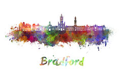 Bradford skyline in watercolor. Splatters with clipping path Stock Image