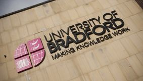 Bradford, West Yorkshire, UK - 9th October 2013, sign for University of Bradford Building at the Bradford City Centre Campus stock photos