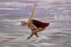Bradie Tennell de los Estados Unidos se realiza en el programa del cortocircuito de Team Event Ladies Single Skating en las 2018  Imagenes de archivo