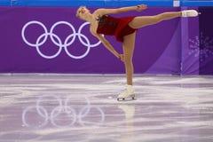 Bradie Tennell de los Estados Unidos se realiza en el programa del cortocircuito de Team Event Ladies Single Skating en las 2018  Imagen de archivo libre de regalías