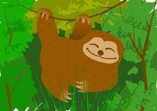 Bradipo che appende su un ramo nel vettore della giungla fotografie stock libere da diritti